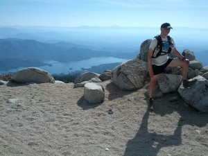 On top of Shasta Bally, Whiskeytown Lake below. Photo by Sean Ranney.